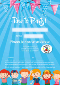 Seacliff Kindergym - party invites - boys