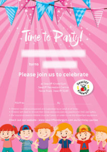 Seacliff Kindergym - party invites - girls